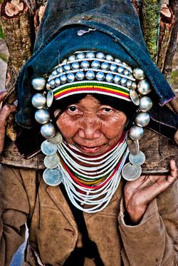 Akha Woman Carrying Wood, near Kyaing Taung, Myanmar 2008