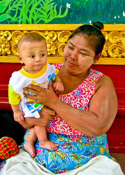 Mother and Child with Thanaka on their Faces, Yangon 2007-2