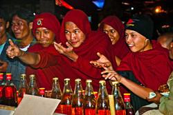 Monks Playing Game at Balloon Festival, Taunggyi, Myanmar 2009