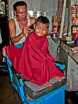 Boy Getting a Haircut, Yangon 2007