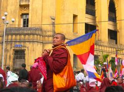 Monk with Flag, September 2007 Demonstrations, Yangon 2007