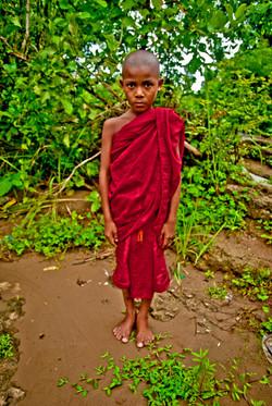 Young Monk, Akauk Taung (Tax Mountain), along the Ayeyarwady River north of Pyay, Myanmar 2008