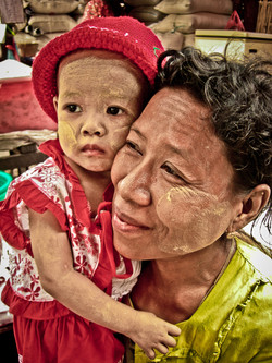 Mother and Child with Thanaka on their Faces, Yangon 2007