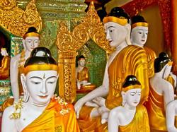 Golden Clad Buddhas, Shwedagon Pagoda, Yangon 2007