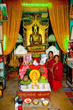 Two Young Monks in Monastery, Monyuwa, Myanmar 2007