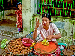 Woman and Child in Market, Yangon 2007