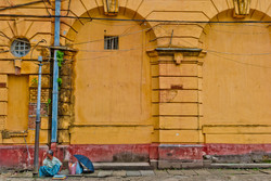 Man Sitting outside City Hall, Yangon 2008