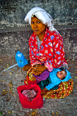 Woman Begger with Baby, Yangon 2010