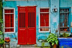 Red Door on Blue Building, Yangon 2009