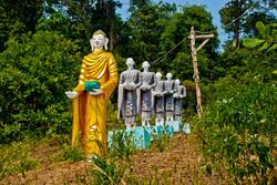 Buddha and Monks, Myiek, Myanmar 2008