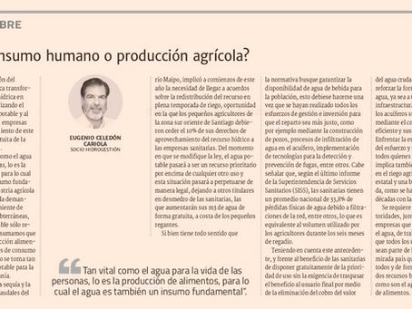 Agua: ¿consumo humano o producción agrícola?