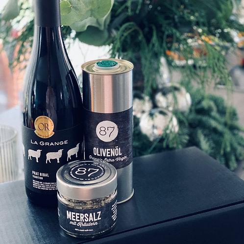 GESCHENK-BOX mit Wein/Bio-Olivenöl/Kräuter-Meersalz