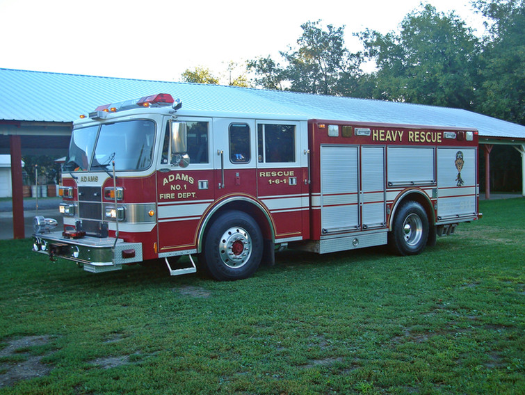 ADAMS 1-6-1 1995 PIERCE RESCUE THIS APPARATUS PREVIOUSLY SERVED THE EAST BRENTWOOD NY FIRE DEPARTMENT AND WAS PURCHASED BY ADAMS IN 2012 FROM BRINDLEE MOUNTAIN FIRE APPARATUS.