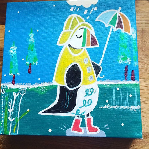"""Square """"Einaar goes puddle busting"""" card"""