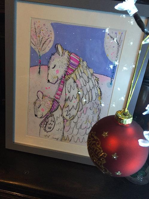 Original illustration- Harrumphing home for Christmas