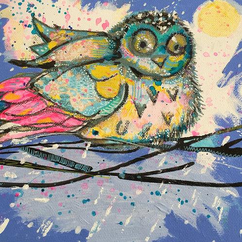 Arnold the cutest baby owl -art card