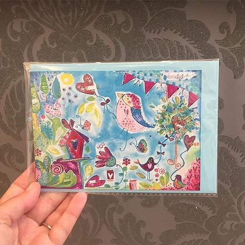 "A6 ""Lovebirds in Spring"" card"