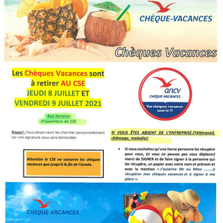 DISTRIBUTION CHEQUES VACANCES
