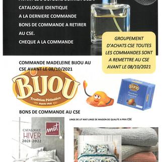 COMMANDES PARFUMS MADELEINES BIJOU ET LINGE DE LIT MAT