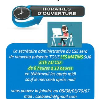 nouveaux horaires CSE BAI             secrétaire administrative
