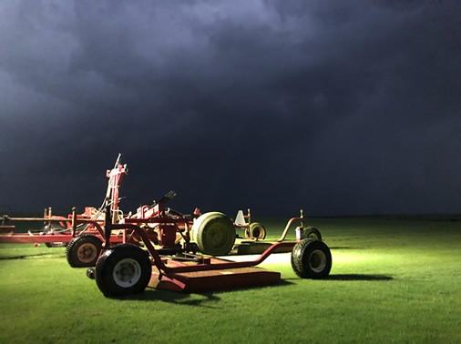 Red Dirt Turf Mowing Before Storms Roll In