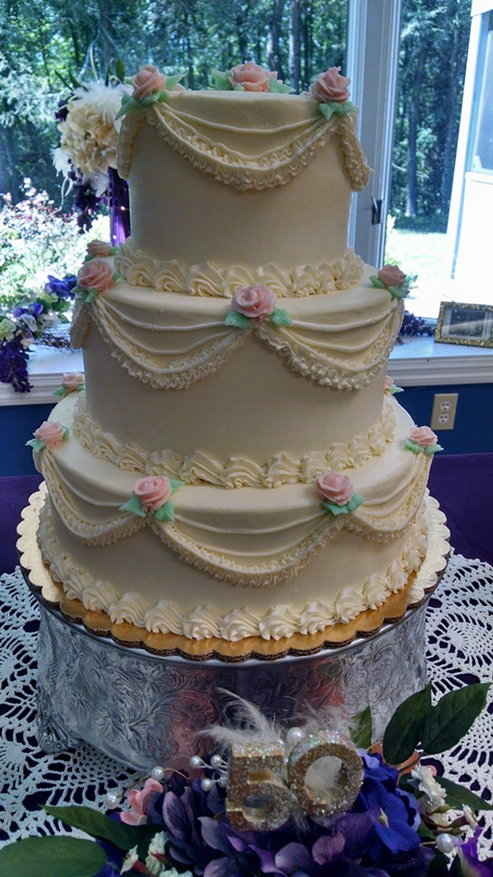 3 Tier Wedding Cake With Swag Decoration