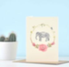 Front_Floral Elephant illustrated greeti