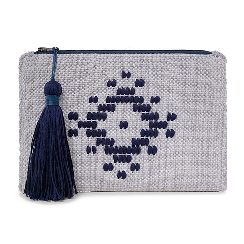 GREY WOVEN CLUTCH  BY ARGALIOS