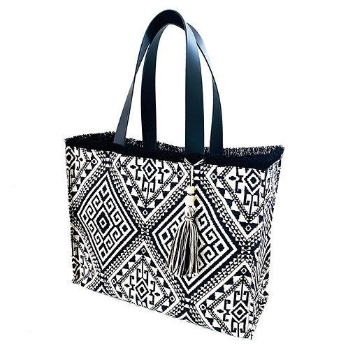 KNOSSOS BLACK TOTE BAG WITH LEATHER STRAP BY ARTEMIDE