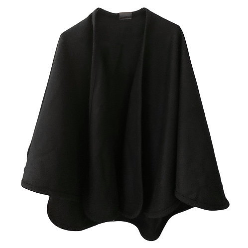 BLACK SHORT MERINO WOOL CAPE