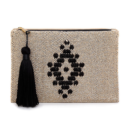 GOLD WOVEN CLUTCH  BY ARGALIOS