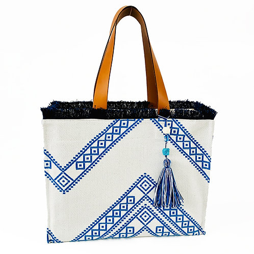 KNOSSOS GREEK BLUE TOTE BAG WITH LEATHER STRAP BY ARTEMIDE