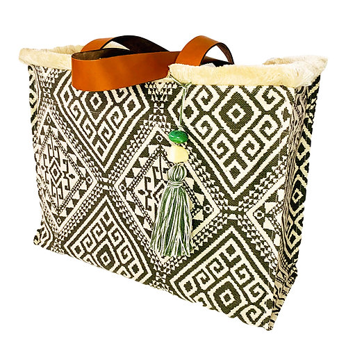 KNOSSOS OLIVE TOTE BAG WITH LEATHER STRAP BY ARTEMIDE