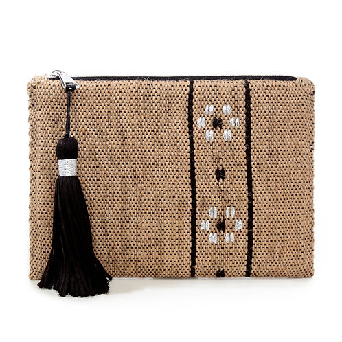 CAMEL FLOWER WOVEN CLUTCH  BY ARGALIOS