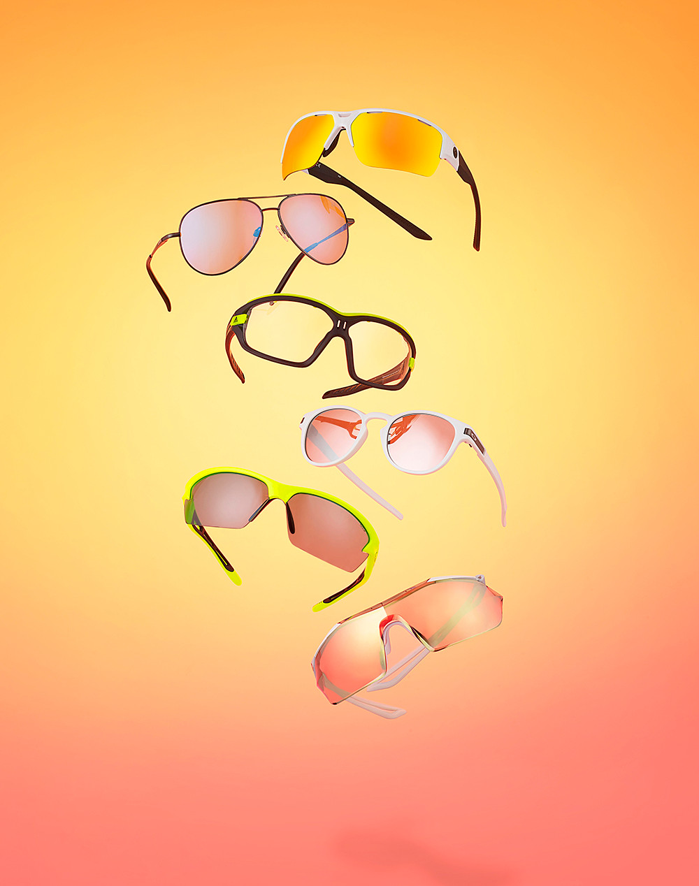 Creative product photography of suspended hanging sunglasses shot at RGB Digital in our London studio