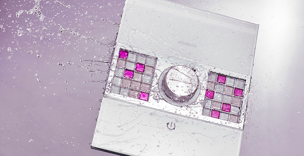 Creative product imagery of a shower unit shot with water spashing