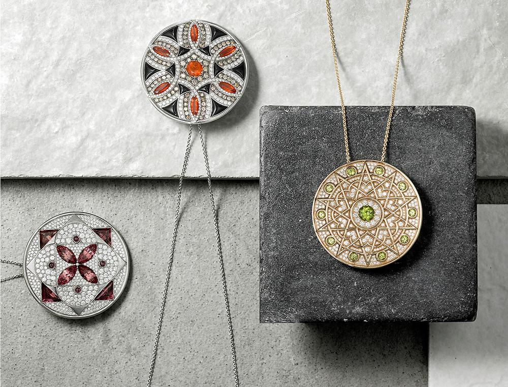 Jewellery product photography necklaces on stone