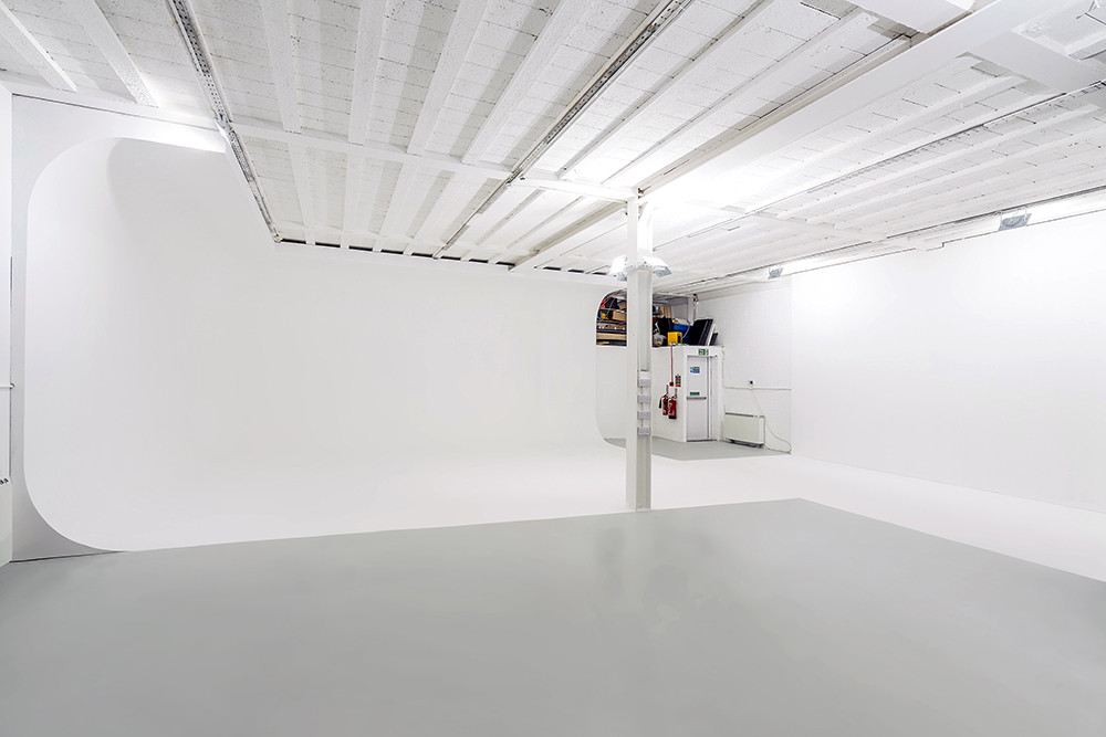 Studio hire in North Acton, London at RGB Digital Ltd with white infinity cove