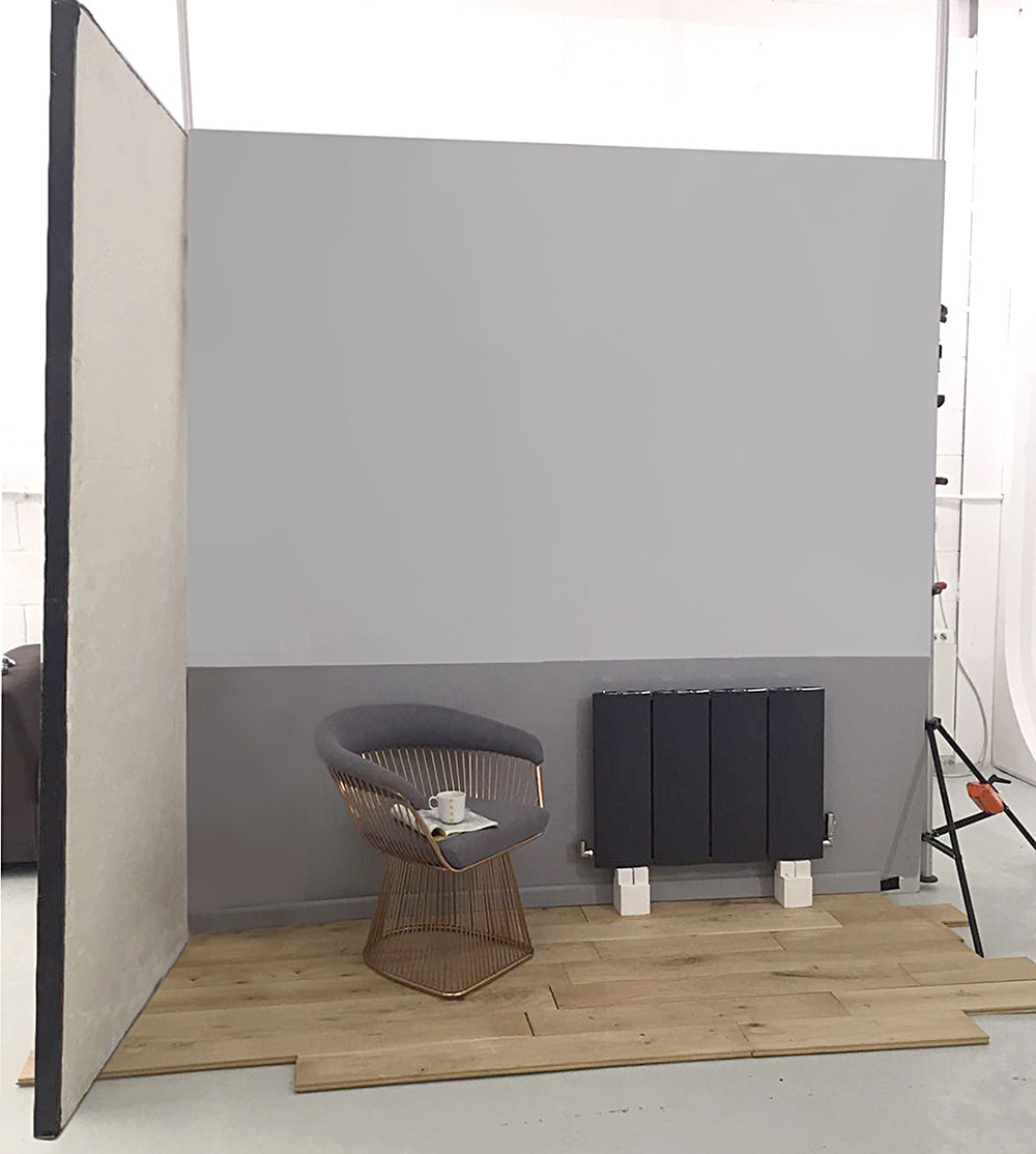 Behind the scenes image of a room set built in house at RGB Studio Hire, West London