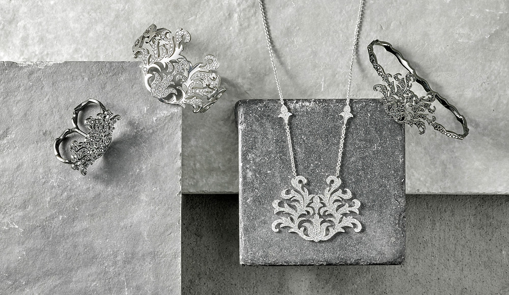 London jewellery photography, rings on creative stone background