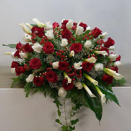 50 Roses Callas and Hypericum casket Spray