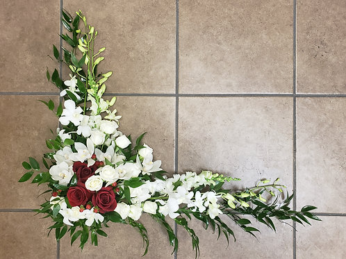 White & Red Casket Insert with Orchids