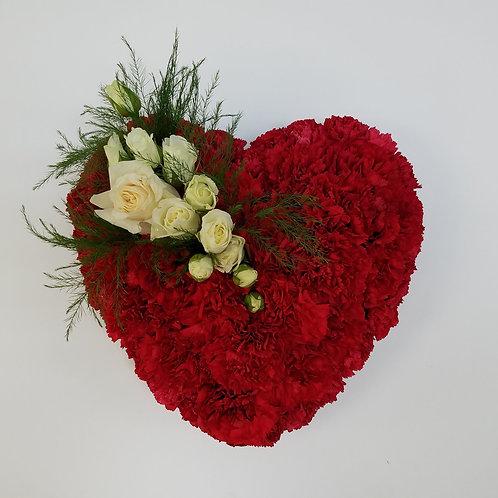 Red & White Heart Casket Insert
