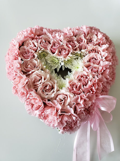 Light Pink & White Heart Casket Insert