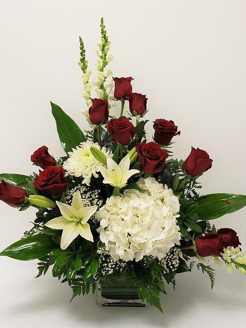 12 Roses Vase Arrangement
