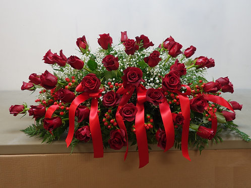 40 Roses Casket Spray with Hypericum
