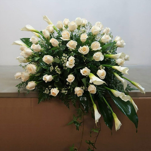 Roses and Callas Casket Spray