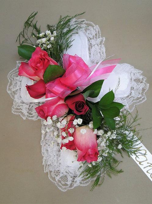 Satin Cross Casket Pillow - Pink