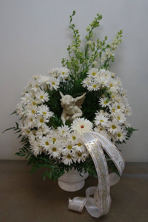 Angel Statue Flower Arrangement