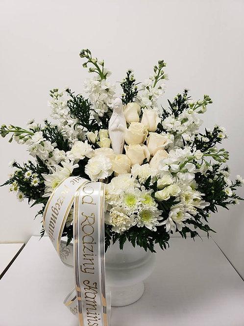 St Mary Statue Flower Arrangement